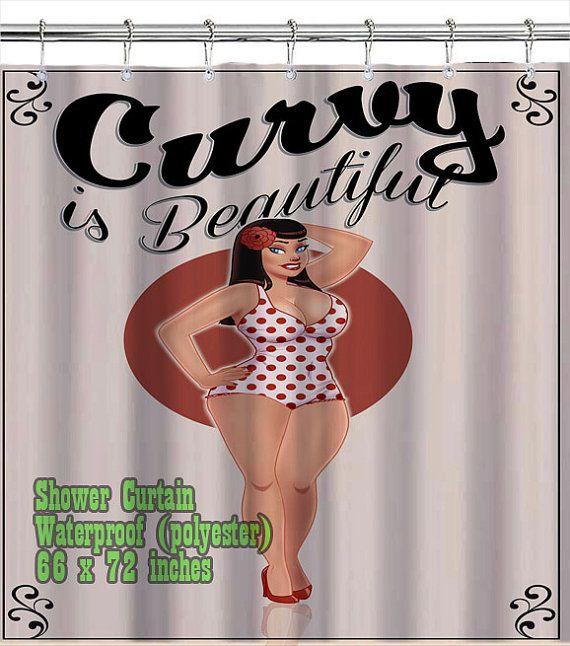 Retro Vintage Pin Up Girl Curvy is Beautiful / Shower Curtain/ Custom ...