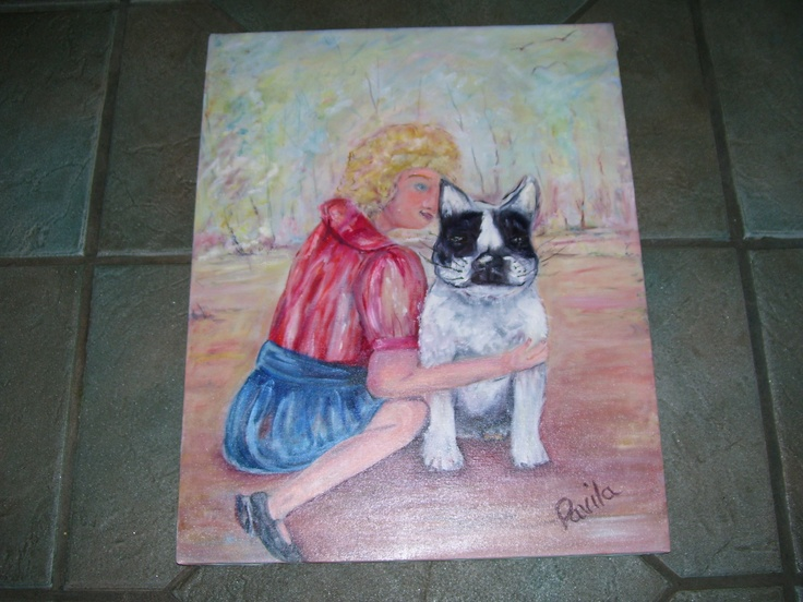ORIGINAL OIL PAINTING, GIRL & HER BOSTON TERRIER ON 16X20 CANVAS BY ARTIST.  VIEW MY ITEMS ON ETSY GO TO ETSY GO TO HAND MADE BOX ARROW TO PEOPLE & PUT IN MY LOGO UINMIND AND HIT RETURN AND YOU WILL GO TO MY LISTINGS,