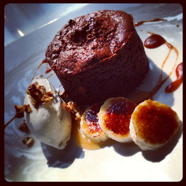 -banana brioche bread pudding with caramelized bananas, toffee sauce ...