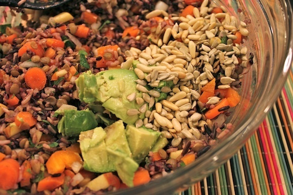 ... salad with brown rice and lentils with lime juice as a dressing