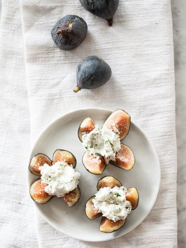 goat cheese stuffed figs. I don't like goat cheese, but I love this ...