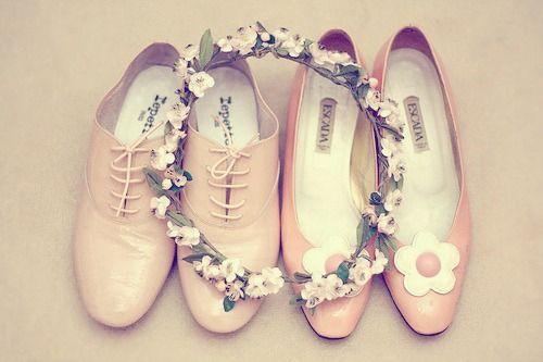 shoes + flower wreath