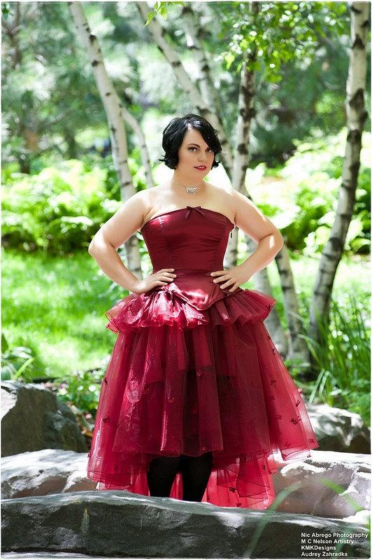 Fairytale wedding dress princess gown red satin by kmkdesignsllc