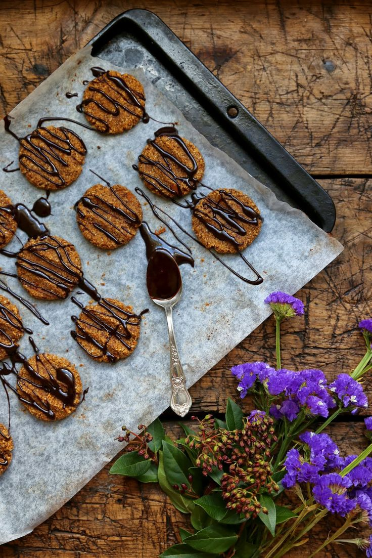 ... SPICED PUMPKIN AND HAZELNUT COOKIES DRIZZLED WITH HOME MADE CHOCOLATE