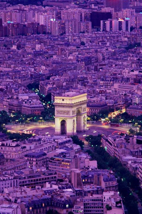 Paris, France - Place d'Etoile...an unusual image of the Arc de Triomphe and the boulevards and avenues spilling out from it