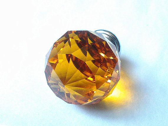 Large Glass Crystal Knobs Diamond Amber Yellow  Kitchen Cabinet Knobs