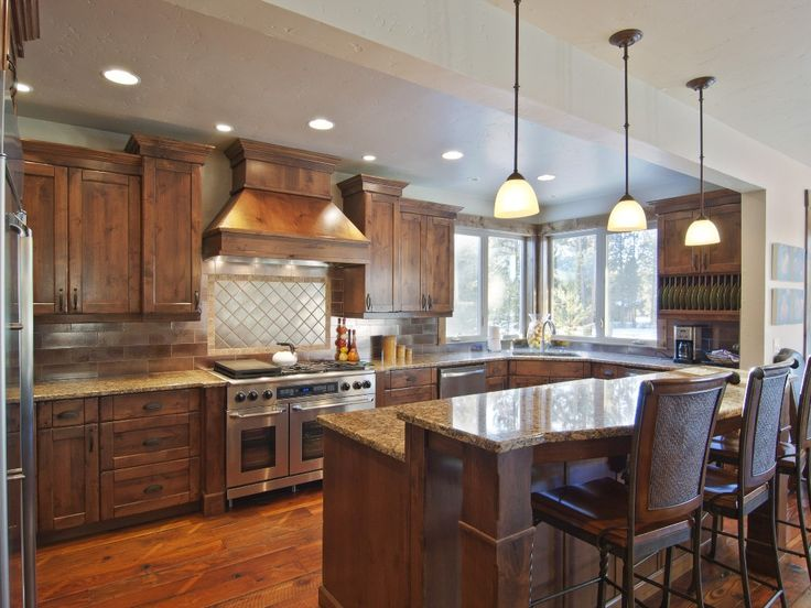 drop ceiling remodel ideas - Love the drop lights over kitchen bar Cottage