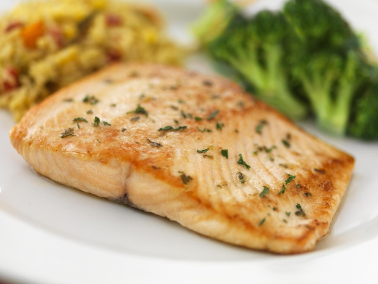 Grilled Salmon with Garlic & Herbs: Served with rice and steamed ...