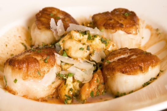 Seared Maine Scallops with Jumbo Lump Crab, Lima Bean & Tomato ...