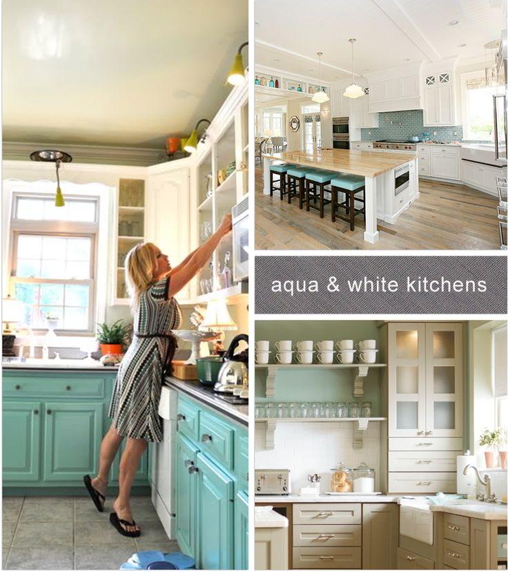Aqua & White Kitchen Ideas  coastal kitchen inspirations  Pinterest