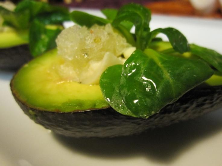 Avocado Salads with Heart of Palm, Mache, and Lemon Thyme Granita