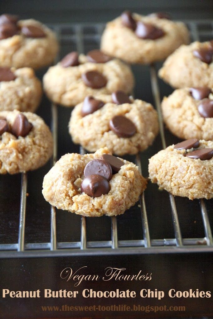 Vegan Flourless Peanut Butter Chocolate Chip Cookies - The Sweet ...