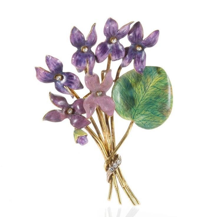 """English Art Nouveau """"Bouquet of Violets"""" Enamel Brooch"""