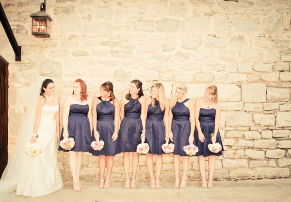 Nude shoes with navy blue bridesmaid dresses