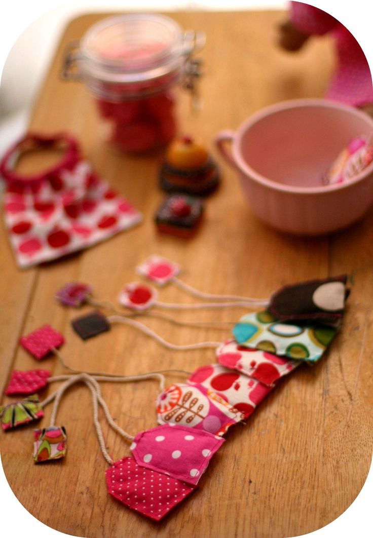 Pretend play tea bags for tea parties- made from fabric scraps.  Oh my!