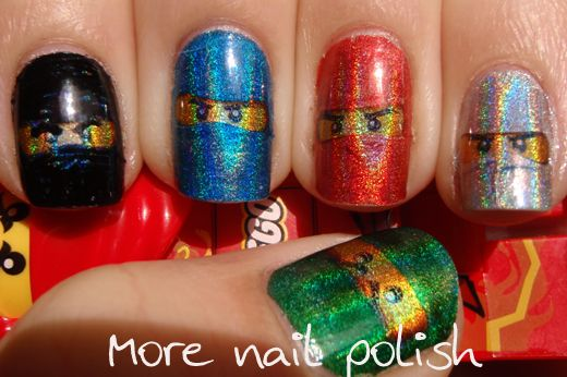 More Nail Polish: Ninjago Nail design using temporary tattoo paper