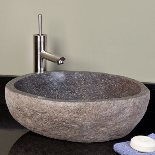Small River Stone Vessel Sink - Dark Gray River Stone