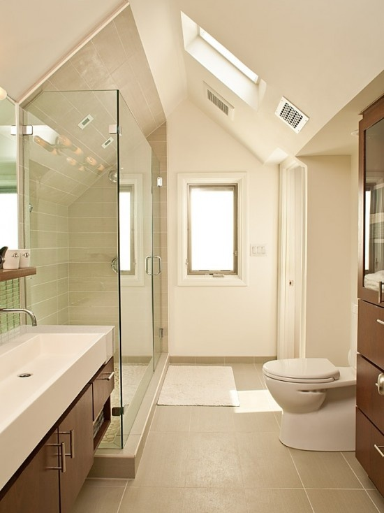 Pin by cr designs on interior inspiration pinterest for Sloped ceiling bathroom ideas