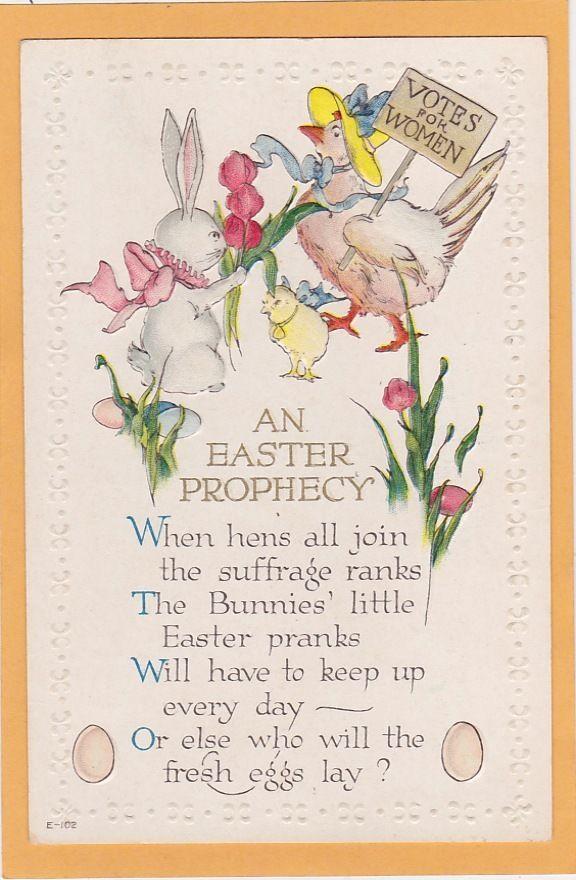 Easter woman suffrage postcard suffragette suffragist poem votes for