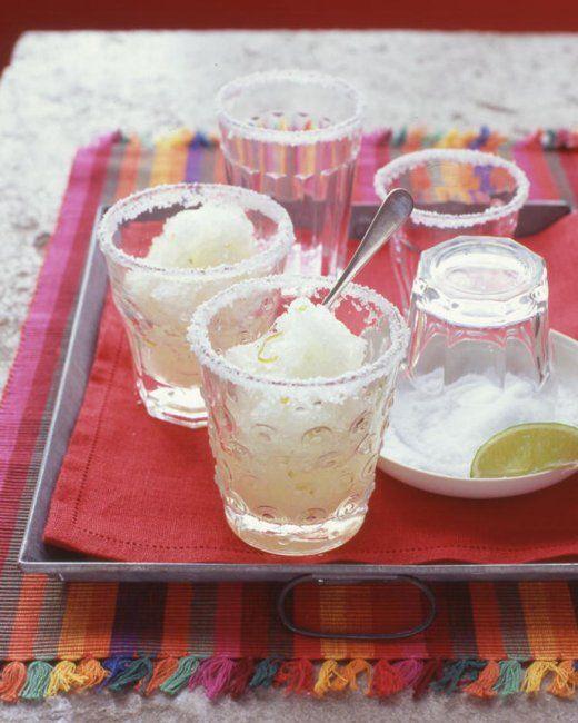 Margarita Granita -- Spoon granita into salt-rimmed glasses, cocktail ...
