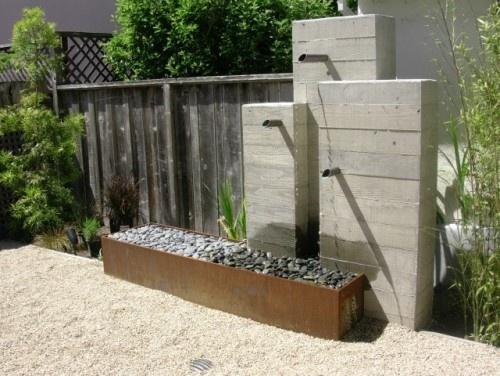 Modern Concrete Fountain Water In The Garden Streams 400 x 300