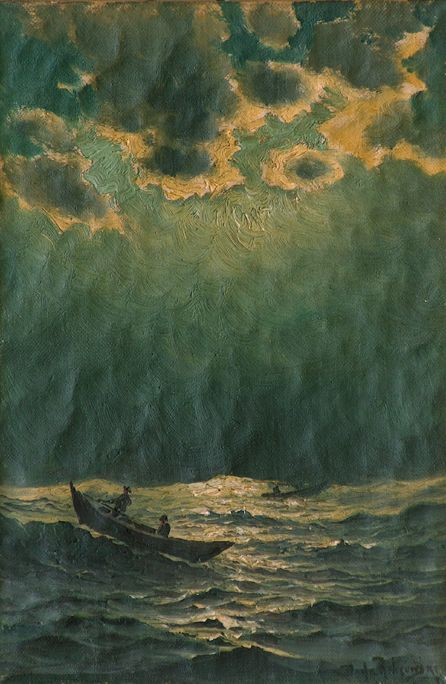 "Richard Dey De Ribcowsky  ""Seascape nocturne with fishing boats"""