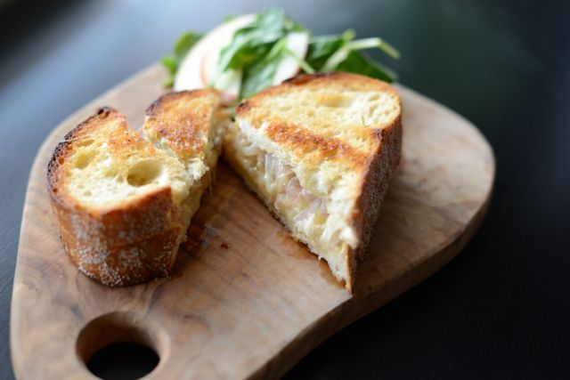 Loves M: gruyere grilled cheese with shallots and thyme