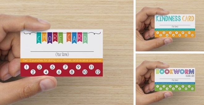 Children's Responsibility Punch Card Set of 15 – Chores, Reading and Kindness Cards