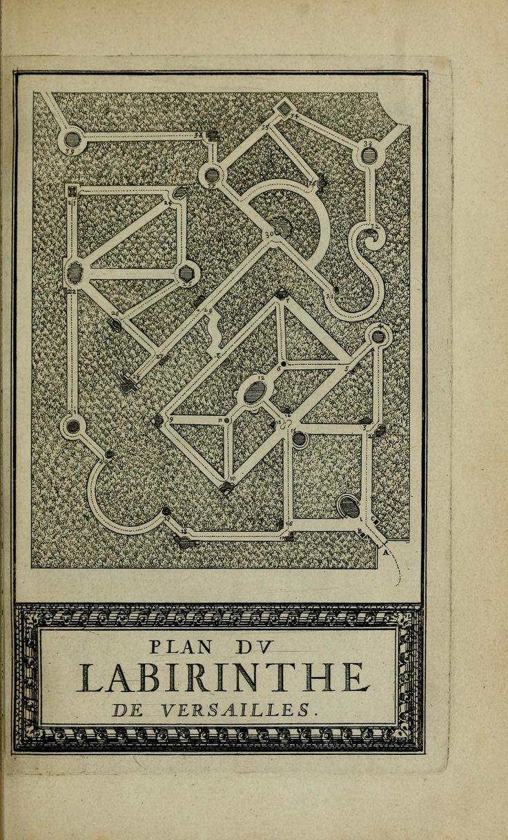 Labyrinth Maze Aesop Fables Description Plan Labyrinte De Versailles Printed  Royal Press Paris