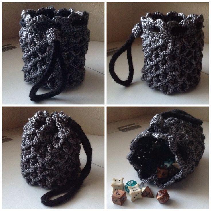 Dragon Dice Bag Crochet Pattern : Dragon Hide Dice Bag - Red/White
