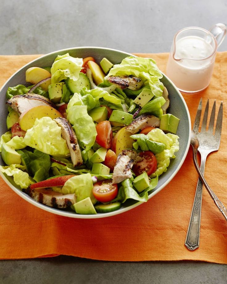 Grilled Chicken, Peach and Avocado Salad - @What's Gaby Cooking