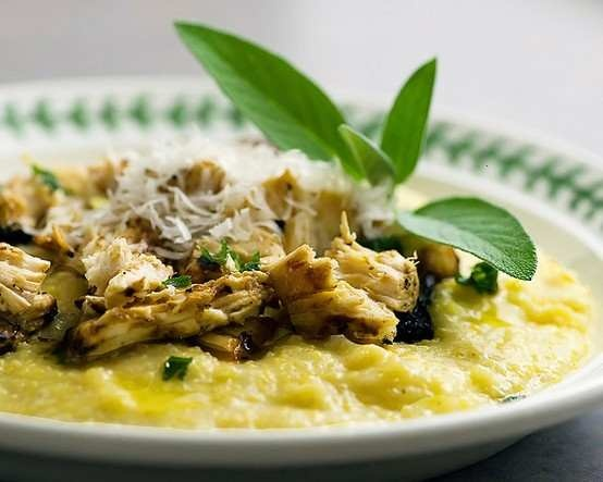Creamy fontina polenta with shredded grilled chicken and a sage butter ...