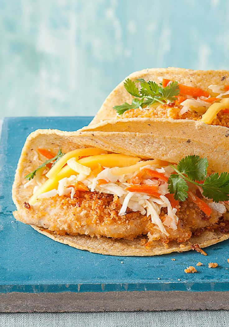 Crispy Chicken Tacos with Mango Chipotle Slaw