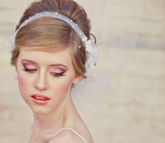 Wedding Veil Tie Headband Of Net And Vintage Flowers Wedding Hair Accu2026