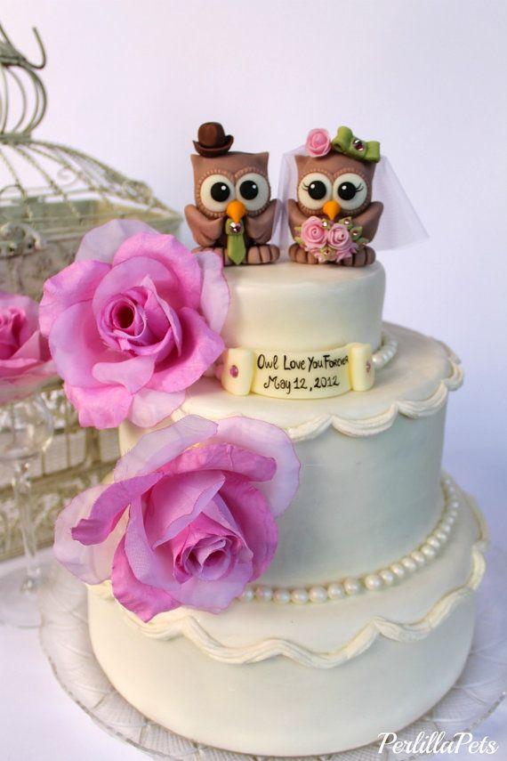 Owl Love Birds Wedding Cake Topper Customizable Banner With A Sen