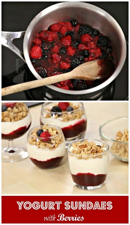Yogurt Sundaes with Berries. What a treat!!!! http://www.ifood.tv ...