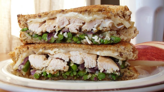 Asparagus and Turkey Breast grilled Cheese Sandwich