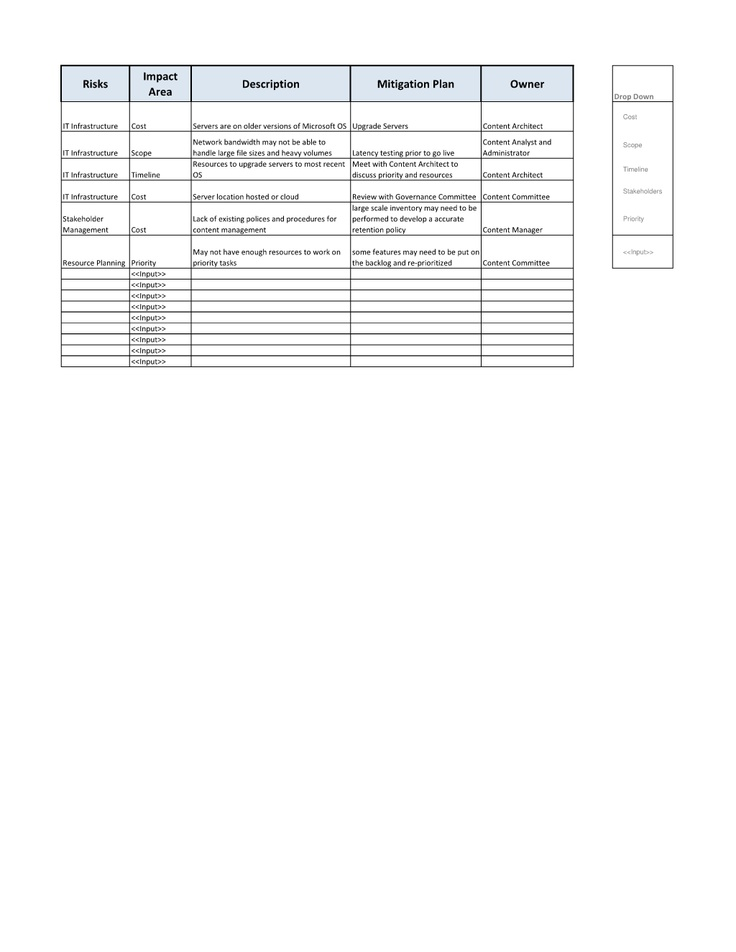 project risk management plan template .