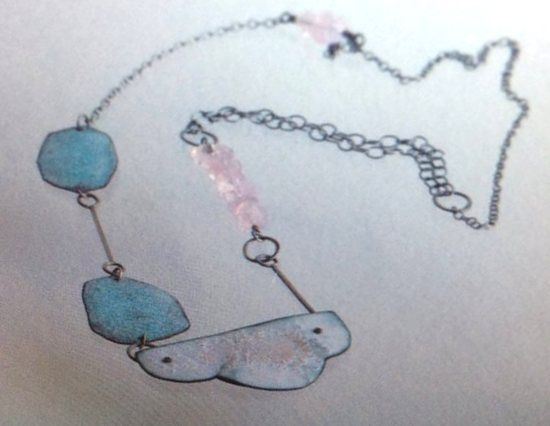 Montserrat Lacomba - 'Sweet sky' necklace -Oxidized silver and copper, enamel and pink quartz