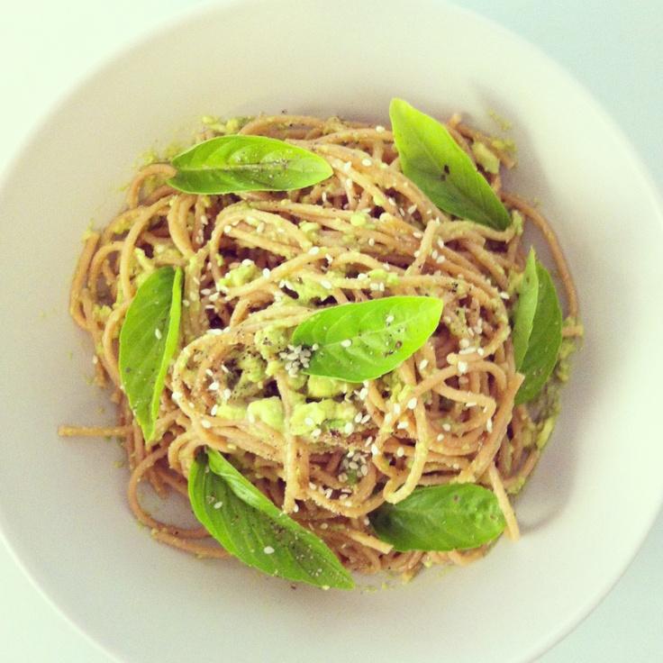 Creamy avocado & Meyer lemon whole meal spaghetti with fresh basil ...