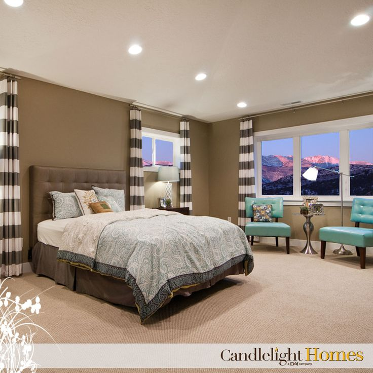 Candlelight homes utah home builder master bedroom curtains accent chairs lighting Master bedroom with drapes