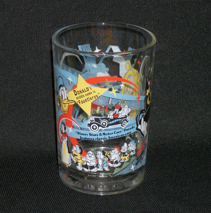 McDONALD'S Drinking Glass- Disney's 100 Years of Magic. Features Mickey as Steamboat Willie, Minnie Mouse, Donald Duck, Pluto and Snow White and the Seven Dwarfs.  Excellent Pre-Owned Condition! $14.95 obo (Free S&H)