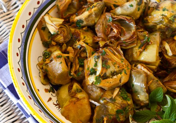 Golden Braised Artichokes with Garlic and Mint from website with TONS ...