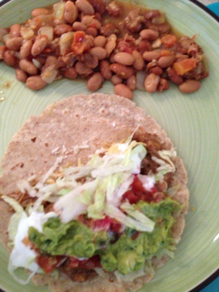 easy dinner... Pork Tacos Pork tenderloin with a jar of salsa verde ...