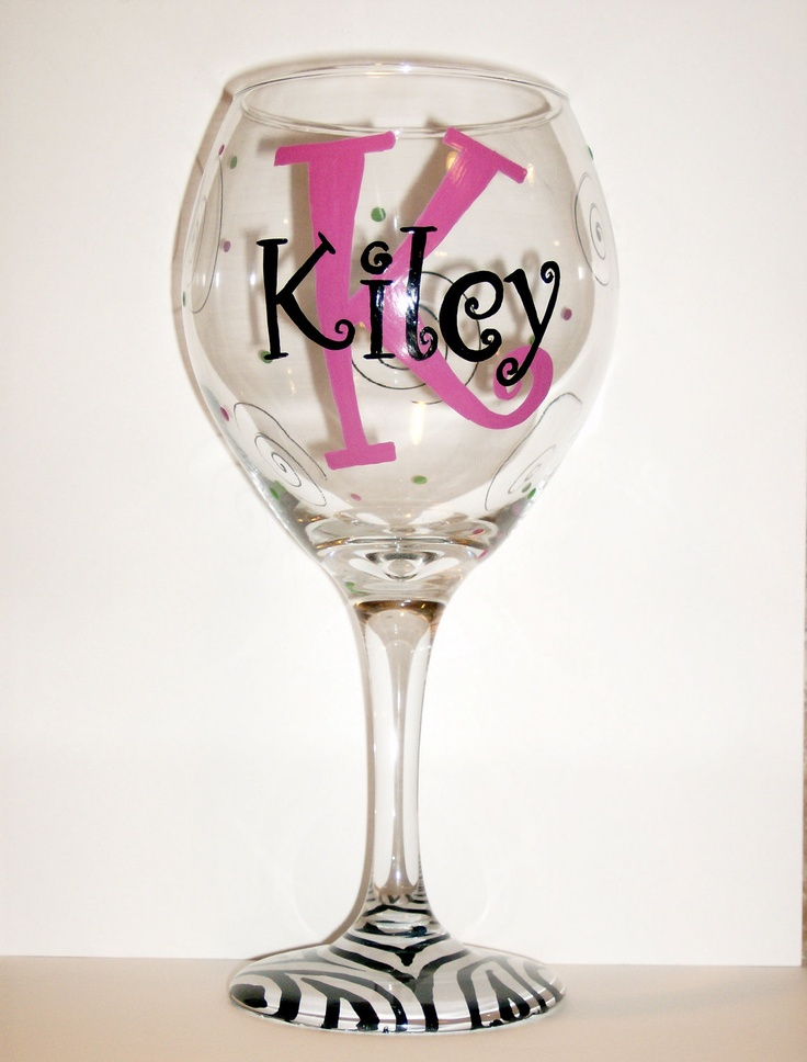 Initial zebra hand painted wedding party personalized wine for Painted wine glasses with initials