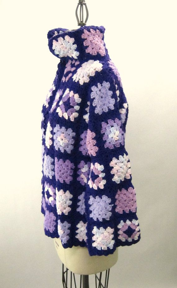 Vintage purple crocheted granny square jacket
