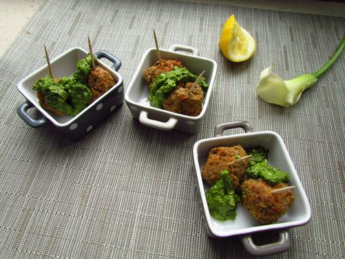 Vegetarian Lentil and Chickpea Meatballs with Lemon Pesto recipe from ...