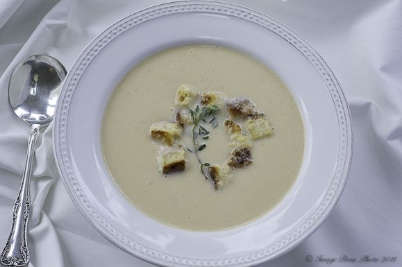 Cauliflower Soup with Toasted Truffled Brioche Croutons | Recipe