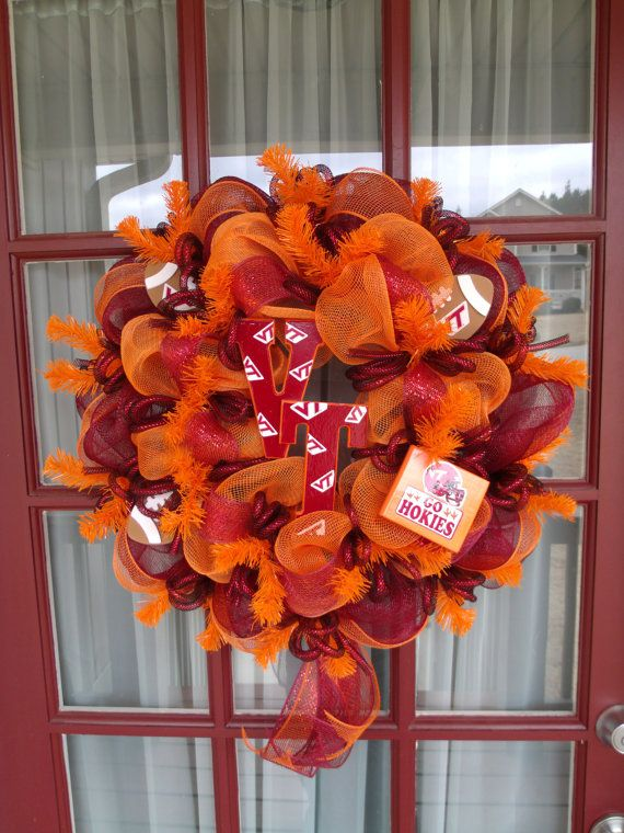 Virginia Tech Hokies Deco Mesh Wreath by CrazyboutDeco on Etsy, $69.00