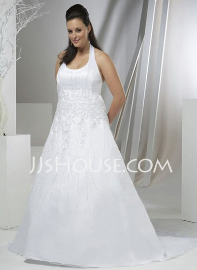 Wedding Dresses - $234.99 - A-Line/Princess Halter Chapel Train Organza  Satin Wedding Dresses With Lace  Beadwork (002000392) http://jjshouse.com/A-line-Princess-Halter-Chapel-Train-Organza--Satin-Wedding-Dresses-With-Lace--Beadwork-002000392-g392
